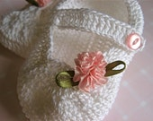 White Mary Jane Baby Slippers- Pink flower