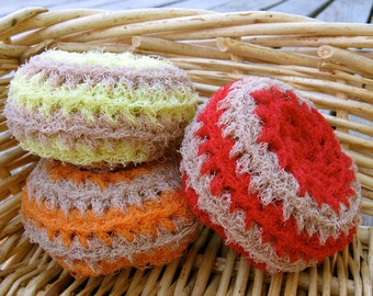 Set of 3- Fall Swirl Nylon Net Scrubbies