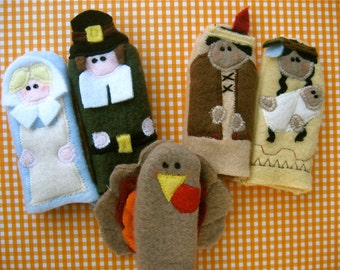 Set of 5- THANKSGIVING FRIENDS- Furry Fingers Finger Puppets