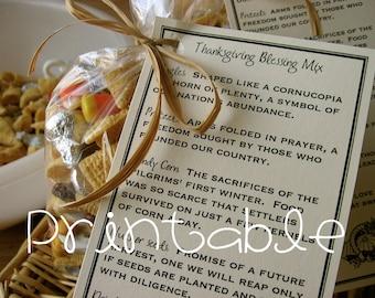 Printable- PDF- Thanksgiving Blessing Mix- Thanksgiving Gift Idea