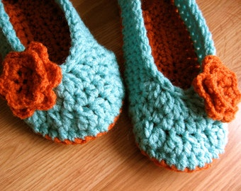 Womens Crochet House Slippers- Carrot and Aruba Sea Blue