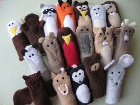 You choose 5- Furry Fingers Finger Puppets- Forest and Prairie Friends