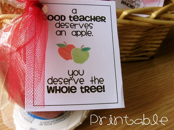 Printable- PDF- Apple for the Teacher tag - Teacher Appreciation Idea