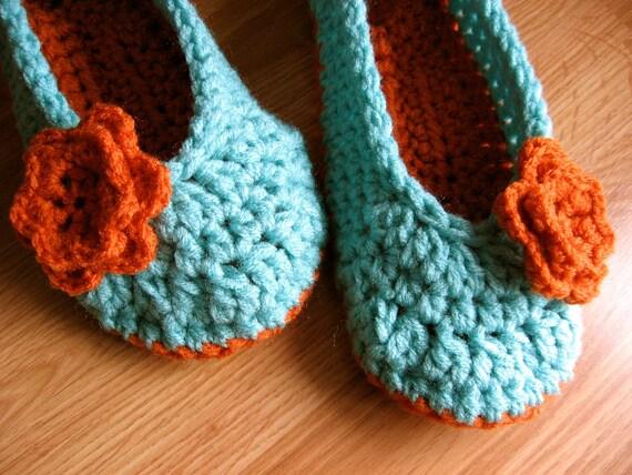 Womens Crochet House Slippers- Carrot and Aruba Sea Blue- size 5/6