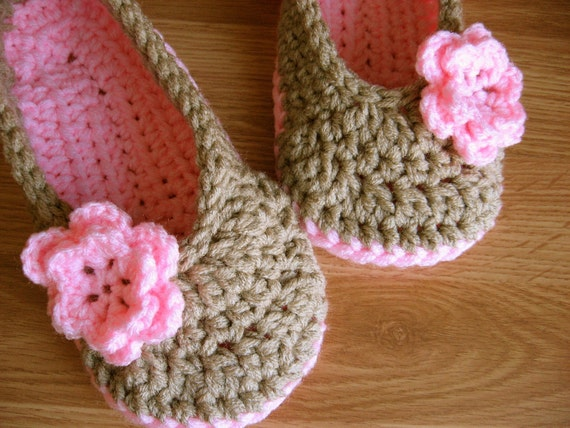 Womens and Girls Crochet House Slippers- Linen and Petal Pink