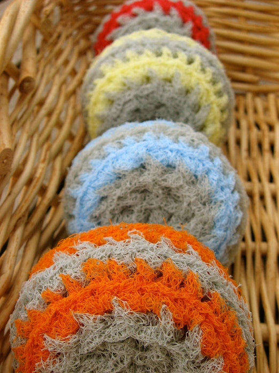 Set of 4- Gray Swirl Nylon Net Scrubbies