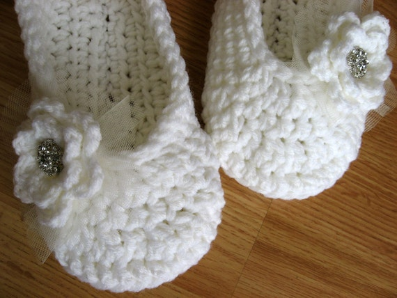 Womens Crochet Slippers- For the Bride