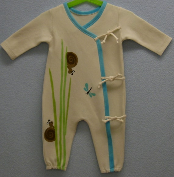 3-6mo. Organic Cotton Kimono Romper. Dragonflies, Wee Snails and Grasses.