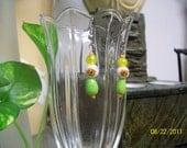 CHINA CAT SUNFLOWER handmade Czech glass bead flower earrings