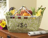 Personalized Large Lime Floral Market Tote