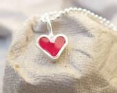 Kids Silver Tiny Pink Heart  Necklace