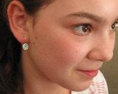 Everyday Earrings.Small Earrings.Silver Earring.Blue Earrings.Light Earrings.Under 40.Silver and Resin Earrings