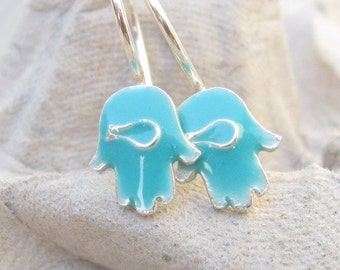 Little Hamsa Earrings Sterling Silver and Blue Resin