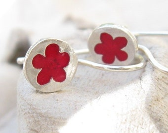 Tiny Red Flower Girl Earrings