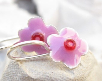 Girls Earrings Sterling Silver  Little Flower with Pink resin and Red Beads