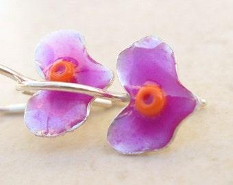 Girls Earrings.Heart Earrings Purple Earrings.Heart jewelry.love jewelry.under 40.girls gift.little girls gifts.small earrings.valentine day