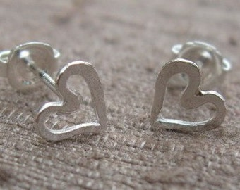 Heart Post Earrings Sterling Silver