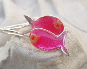 Girls Earrings.Girls Pink Earrings.FishEarrings.Sterling Silver Earrings with Pink Resin and Bead Eye