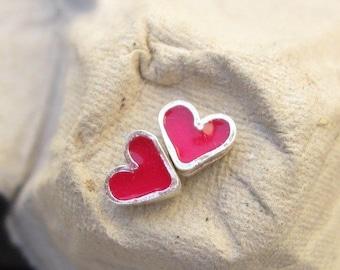 Girls Earrings.Girls jewelry.Tiny Silver Pink Heart Studs.Pink Earrings.Hearts Earrings.hearts post earrings