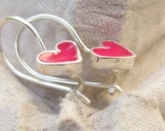 Girls Earrings.Tiny pink heart Earrings.Tiny Earrings.Small earrings.pink earrings.heart.heart earrings.dangle earrings.valentines day.