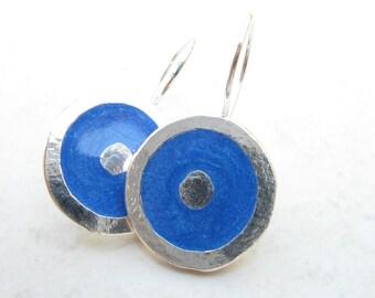 Blue Disk  Dangle Earrings