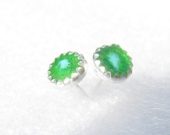Post Earrings-Green and blue