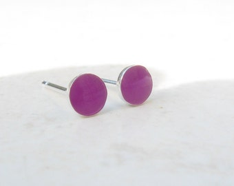 Post Earrings.Studs Silver Earrings.Purple Earrings.Second Hole Earrings.Small Post Earrings