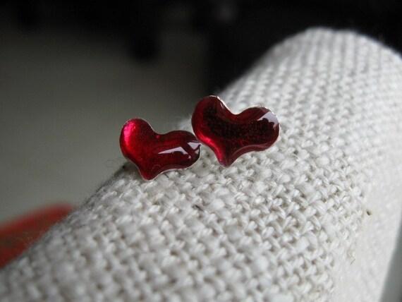 Red Heart Post Earrings