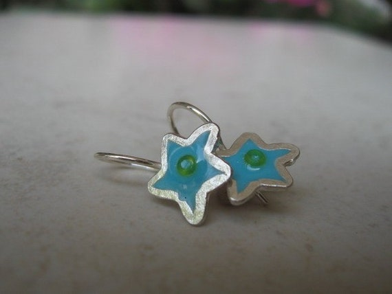 Blue Star Silver Earrings