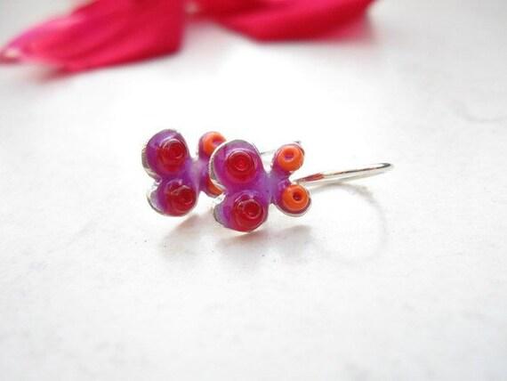 Little Colorful Silver Butterfly Earrings