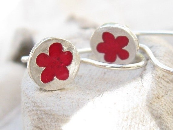 Tiny Red Flower Girl Earrings