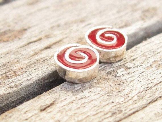 Studs Earrings.Deep red post earrings.Swirly Silver Post Earrings.Red Earrings.swirly silver studs.under 30.tiny studs.small studs.925 post.