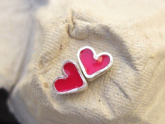 Tiny Silver Pink Heart Studs