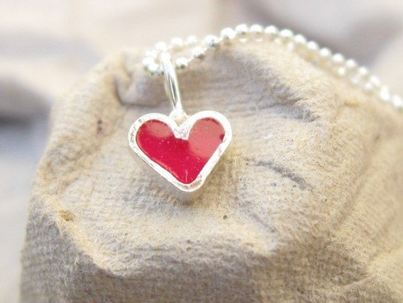 Kids Silver Tiny Pink Heart  Necklace