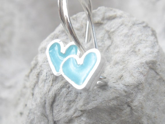 Tiny Girls Earrings Light Blue Heart