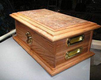 Handmade Man Cave Custom Poker Case - Oak and Elm Burl