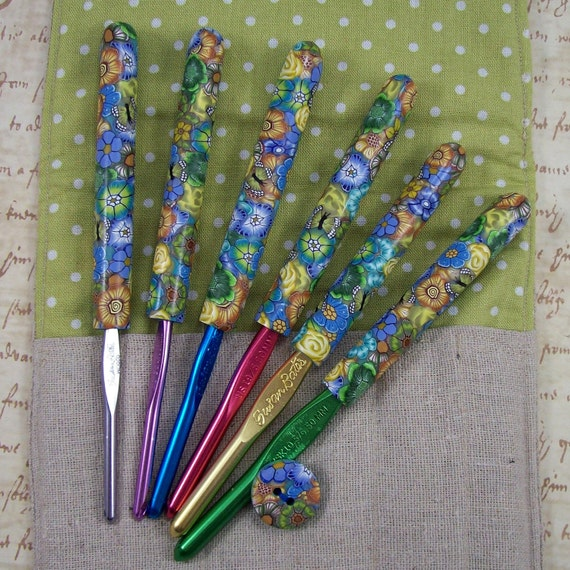 Crochet Hook Case with Set of Susan Bates Crochet Hooks, Handmade with Polymer Clay