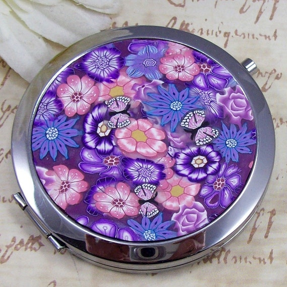 Polymer Clay Compact Mirror, by CAG