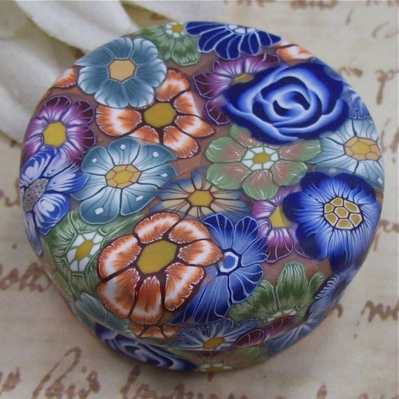 Polymer Clay Covered Tin, Pill Box, by CAG