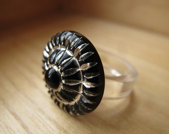 Black and Silver Sparkler Ring