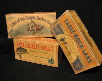 Table Rock Lake Ozarks Bull Shoals lake house fishing cabin decor nostalgic fishing lure boxes