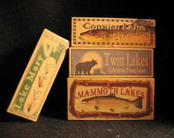 Mammoth Lakes California trout fishing lure boxes make great nostalgic cabin decorations