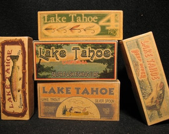 Lake Tahoe California and Nevada Lake House Cabin Decor fishing lure boxes