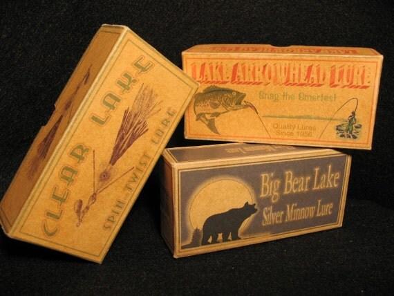 Clear Lake, Lake Arrowhead and Big Bear Lake California cabin fishing lure boxes decor