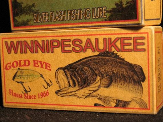 Lake Winnipesaukee New Hampshire lake house fishing cabin lure boxes decor Wolfeboro