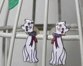 CLOISONNE WHITE RED AND BLUE ENAMEL POST CAT EARRINGS