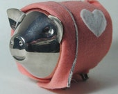 Silver Pig in a Blanket Piggy Bank