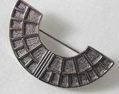 Vintage Silvertone Art Deco Style Half Circle Pin