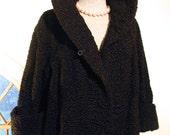Vintage 40s Black Persian Lamb Coat Short Opera Length Stand Up Collar, Taylored Woman 5th Avenue NYC