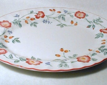 Churchill Staffordshire China Briar Rose Oval Serving Platter - Pink, Purple, Yellow Flowers, Pink Trim